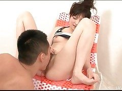 Hairy Japanese pussy squirts roughly hot video
