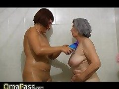 Plus-size gray chubby Granny with old Mature gal in bathtub