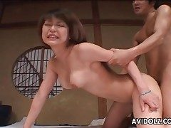 Rigid Asian doggystyle smashing with creampie