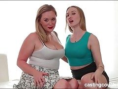 Curvy cutie on the audition couch for lesbian sex