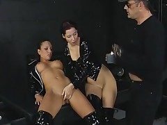 Three way in the dungeon with black latex chicks