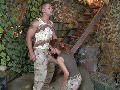 Redhead hottie Denise enjoys in the air giving supporter alongside will not hear of soldier