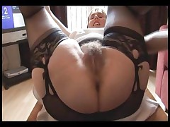 Fur covered buxomy mature dame in slide and girdle does upskirt and