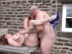 2 big-titted mature milfs poked outdoors